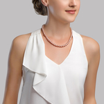 7-8mm Pink Freshwater Pearl Choker Length Necklace - Model Image