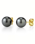 9mm Tahitian South Sea Pearl Stud Earrings- Various Colors - Third Image