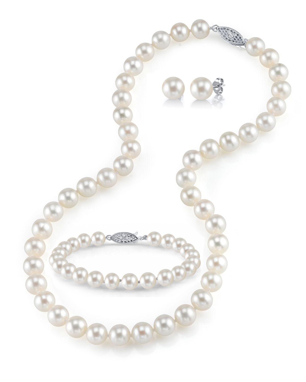 b45a7dfc37e5f 8-9mm Freshwater Pearl Necklace, Bracelet & Earrings