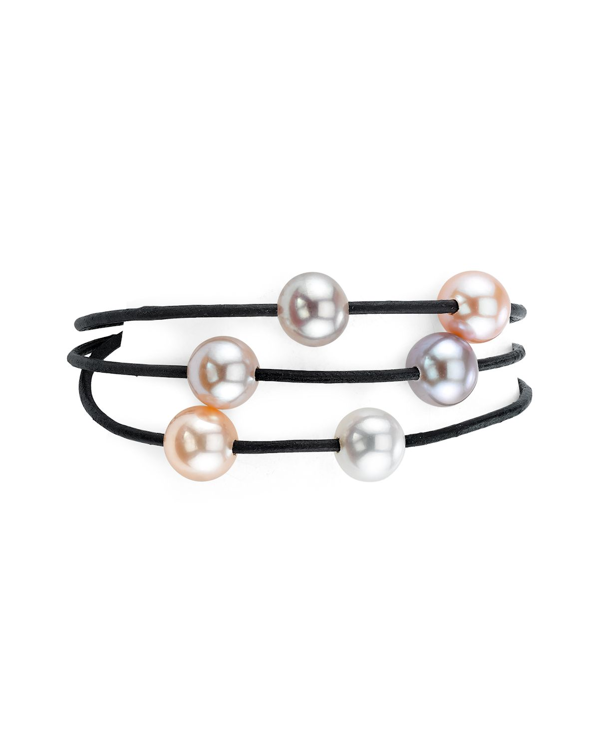 8mm Freshwater Multicolor Pearl Triple Strand Leather Bracelet