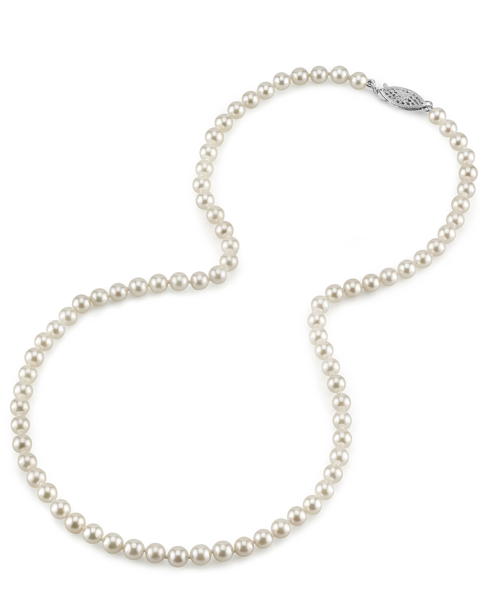 5.0-5.5mm Japanese Akoya White Pearl Necklace- AA+ Quality