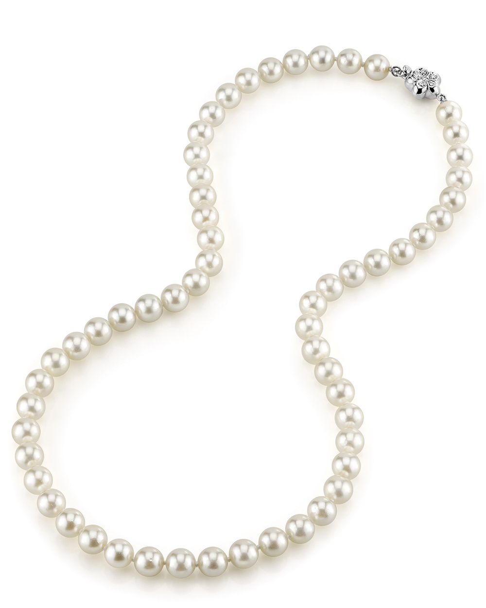 7.0-7.5mm Japanese Akoya White Pearl Necklace- AAA Quality