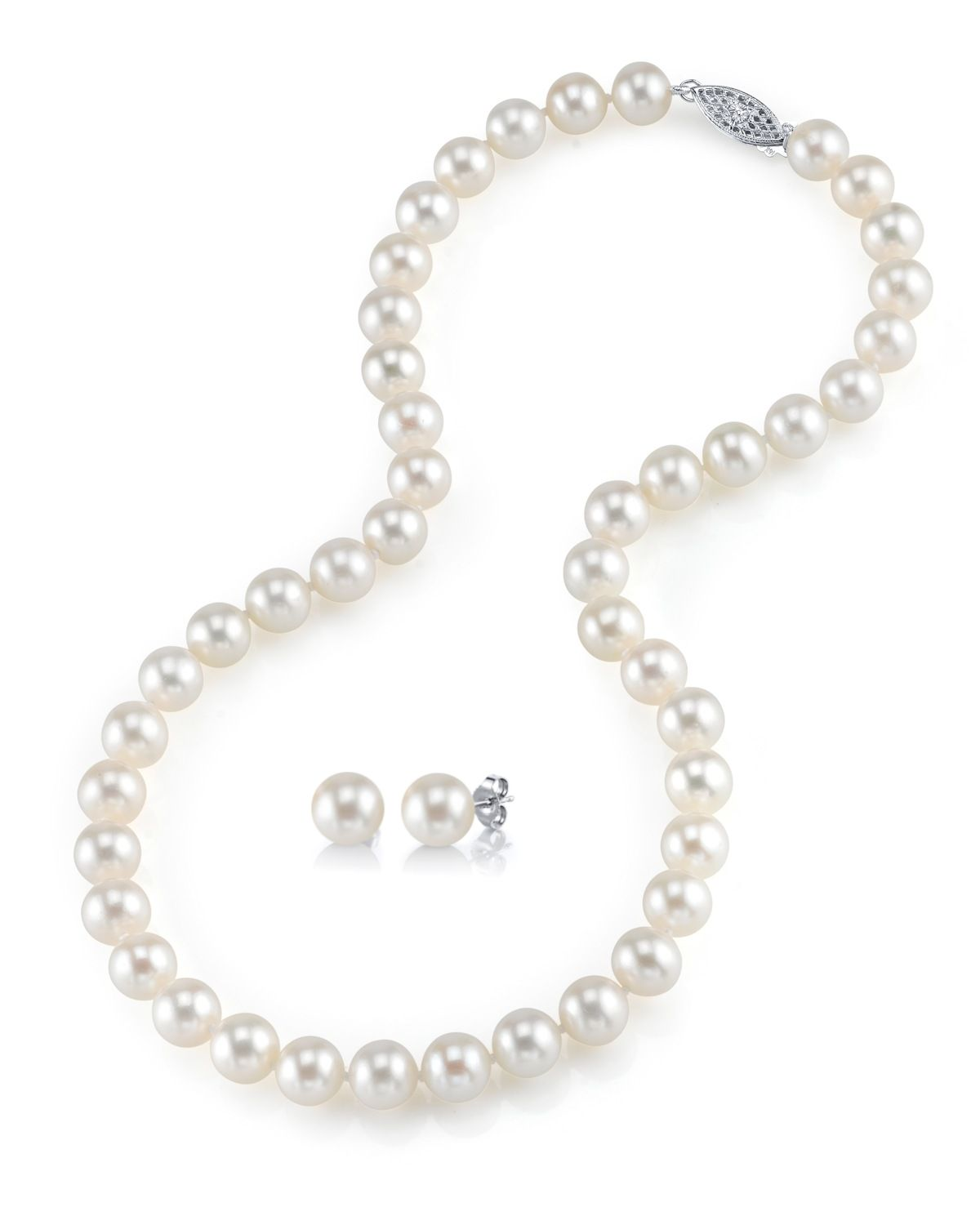 8-9mm Freshwater Pearl Necklace & Earrings