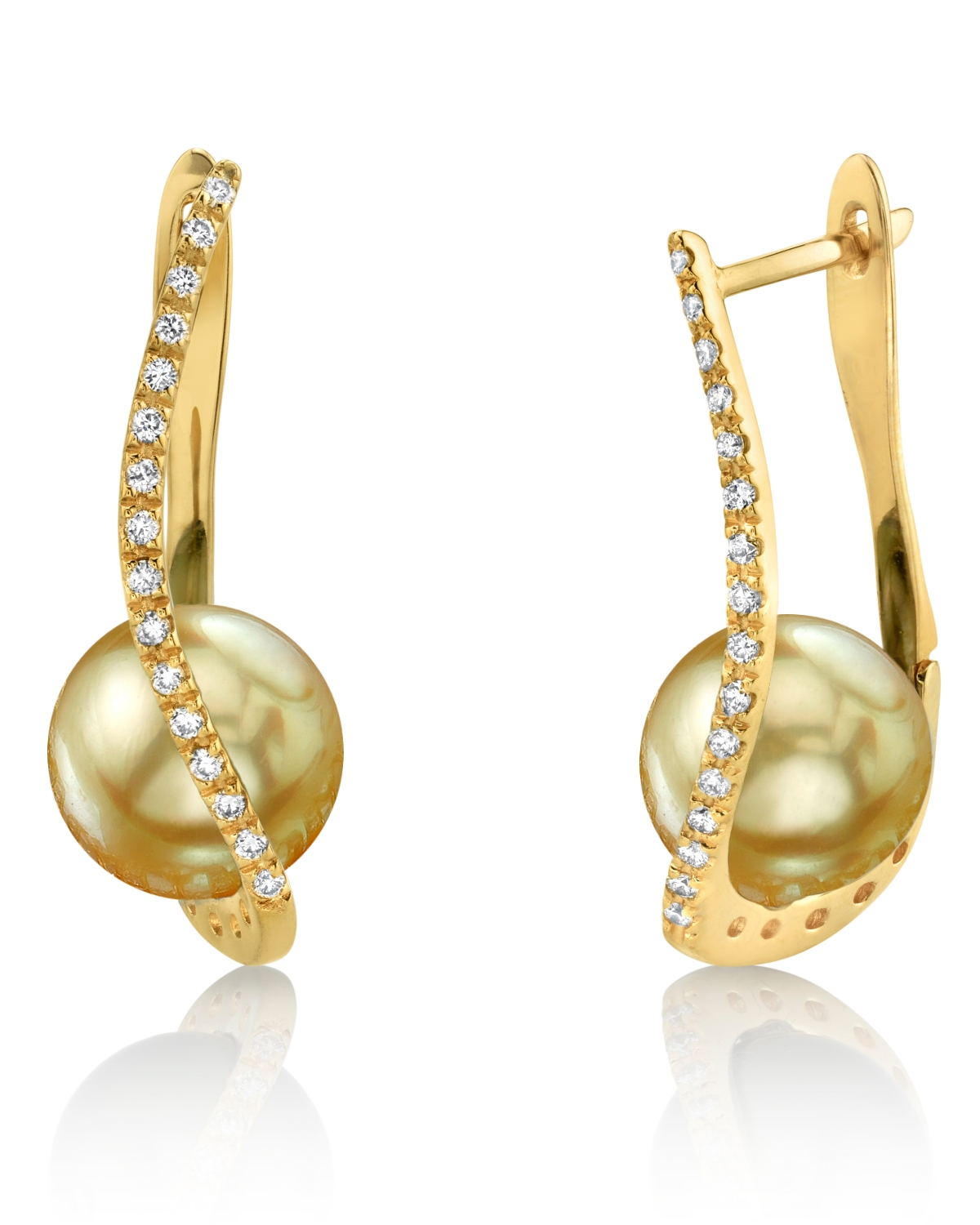 Golden South Sea Pearl & Diamond Eliza Earrings
