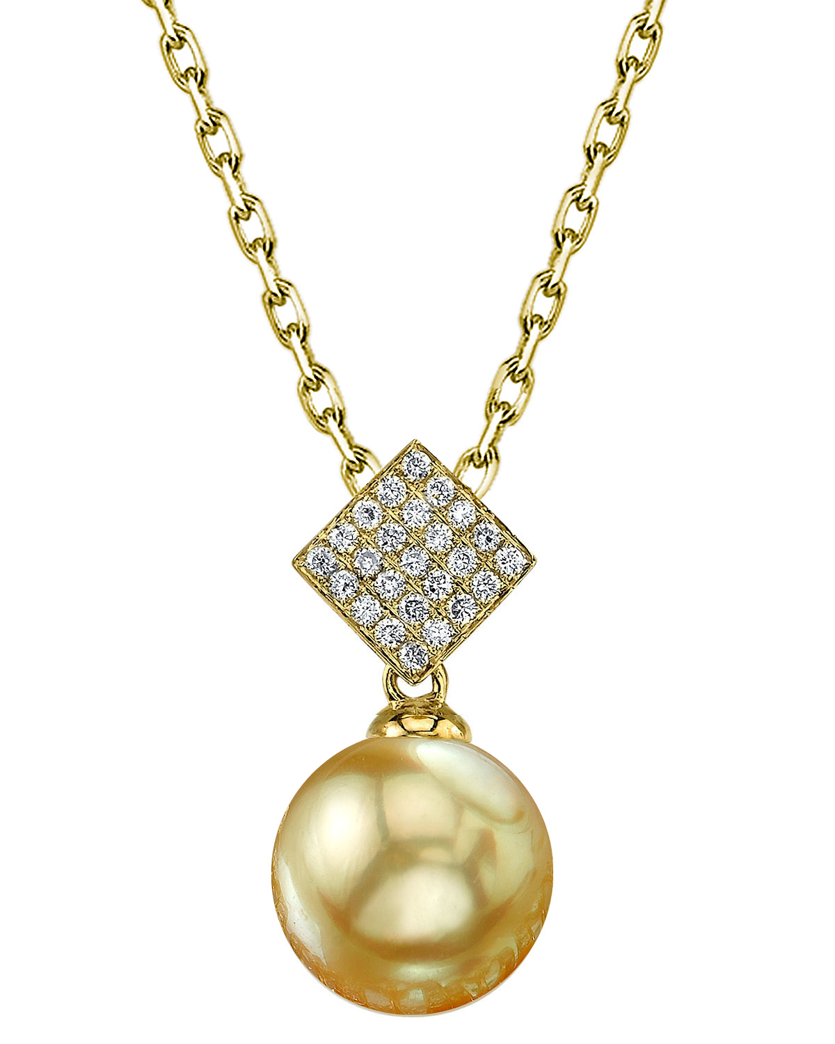 Golden Pearl & Diamond Lizzie Pendant