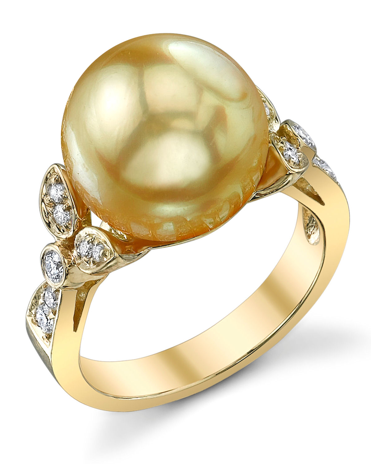 Golden Pearl & Diamond Ariella Ring