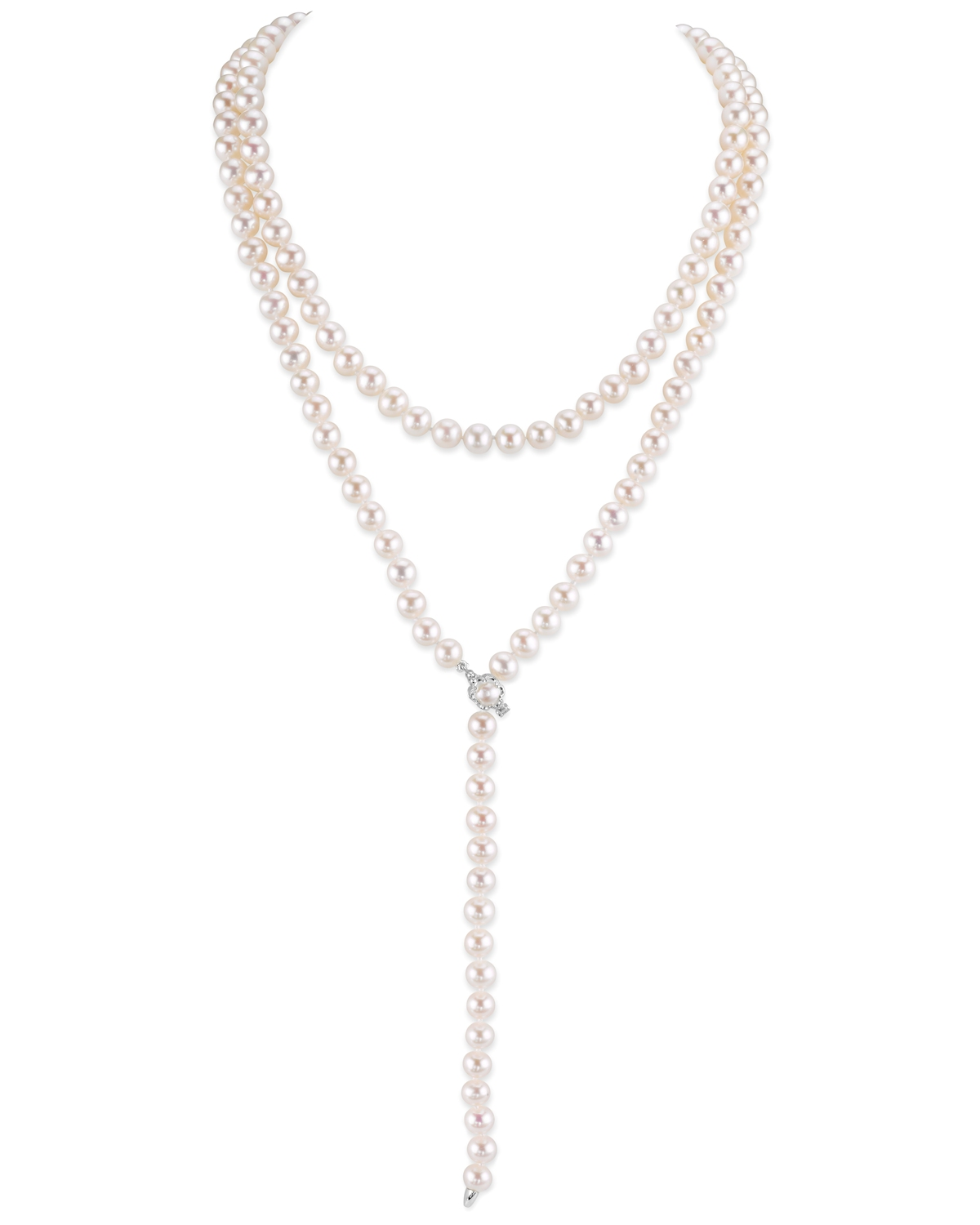 White Freshwater Pearl Adjustable Y-Shape 51 Inch Rope Length Necklace
